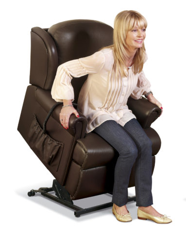 Malvern Petite Leather 'Lift & Rise' Recliner