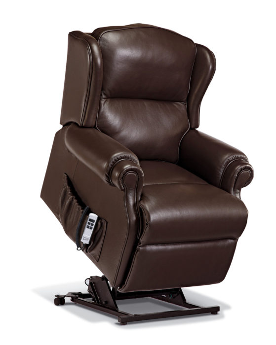 claremont small leather electric riser recliner. Black Bedroom Furniture Sets. Home Design Ideas