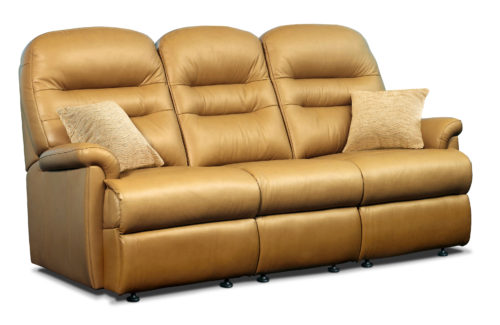 Keswick Standard Leather Fixed 3-Seater Settee