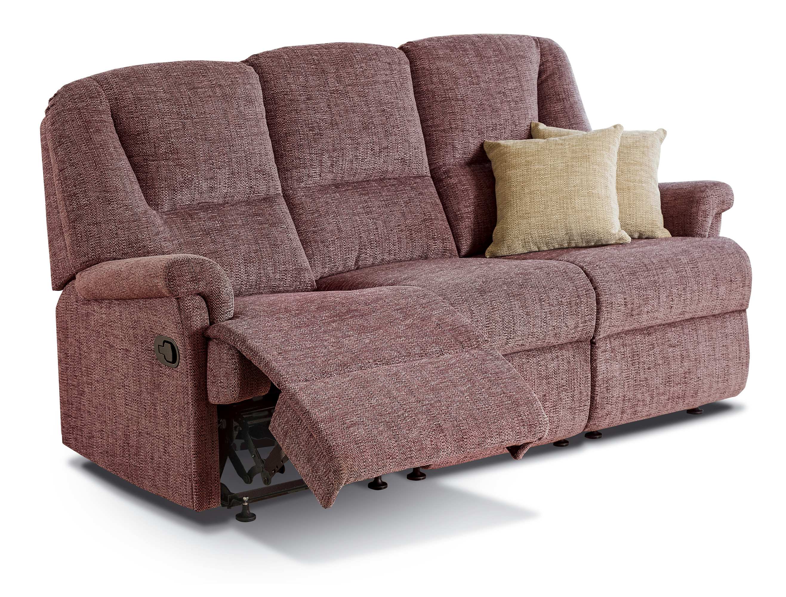 Milburn small fabric reclining 3 seater settee sherborne for Settees and sofas