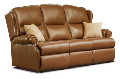 Claremont Standard Leather Fixed 3-Seater Settee