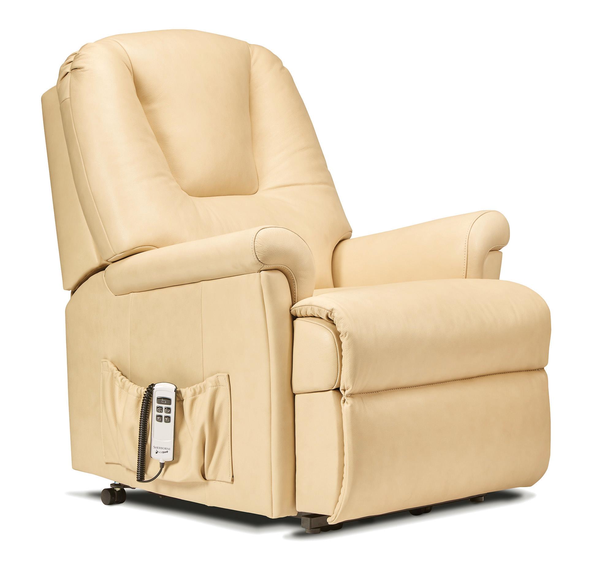 milburn small leather electric riser recliner sherborne. Black Bedroom Furniture Sets. Home Design Ideas