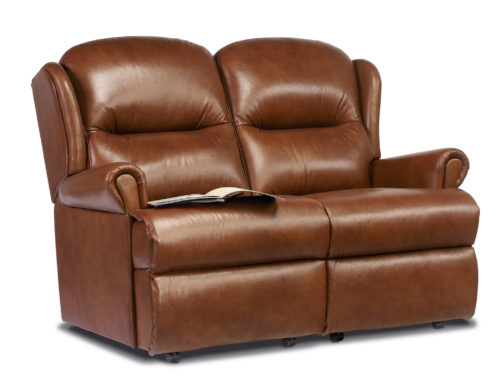 Malvern Small Leather Fixed 2-Seater Settee