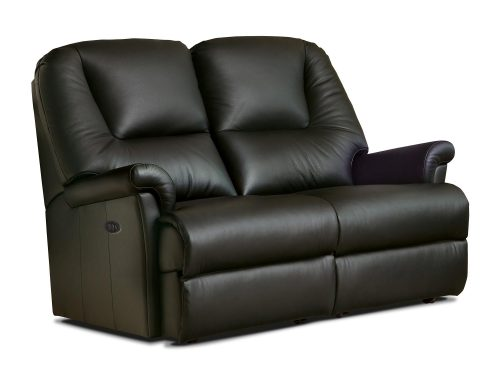 Milburn Petite Leather Reclining 2-Seater Settee