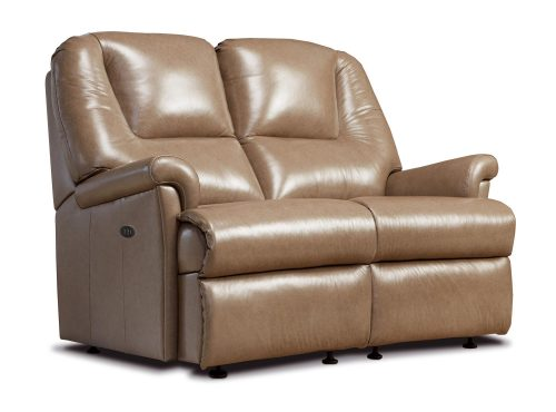 Milburn Small Leather Reclining 2-Seater Settee