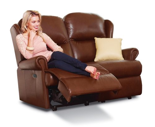 Malvern Standard Leather Reclining 2-Seater Settee