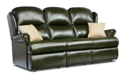 Malvern Standard Leather Fixed 3-Seater Settee