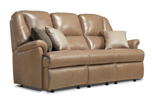 Milburn Small Leather Fixed 3-Seater Settee