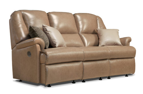Milburn Small Leather Reclining 3-Seater Settee