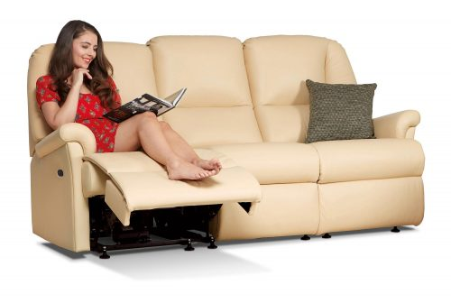 Milburn Standard Leather Reclining 3-Seater Settee