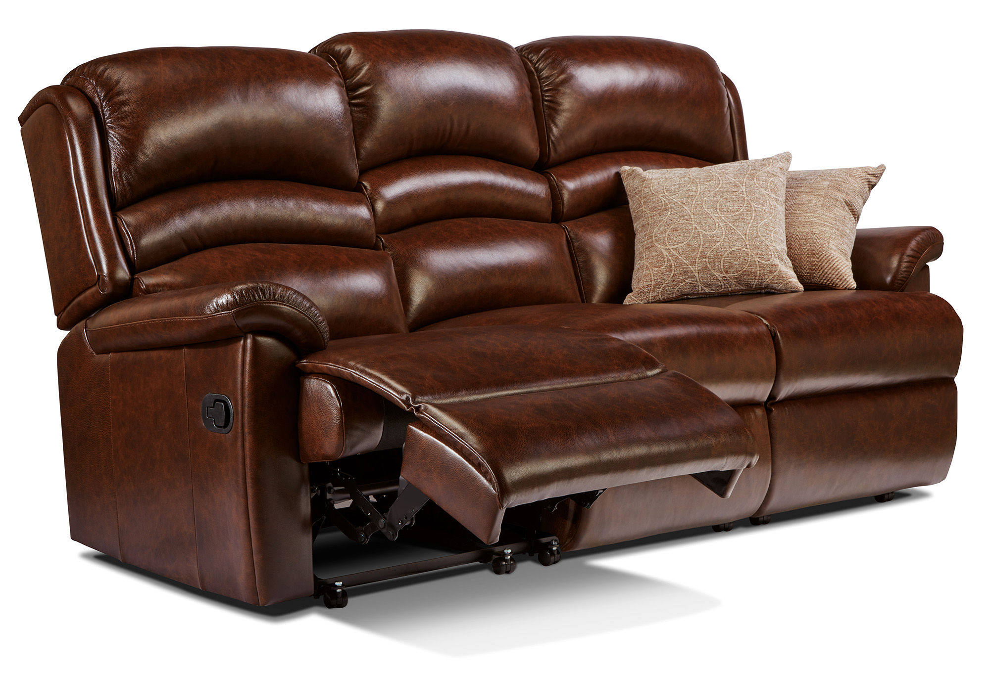 Olivia Standard Leather Reclining 3 Seater Settee