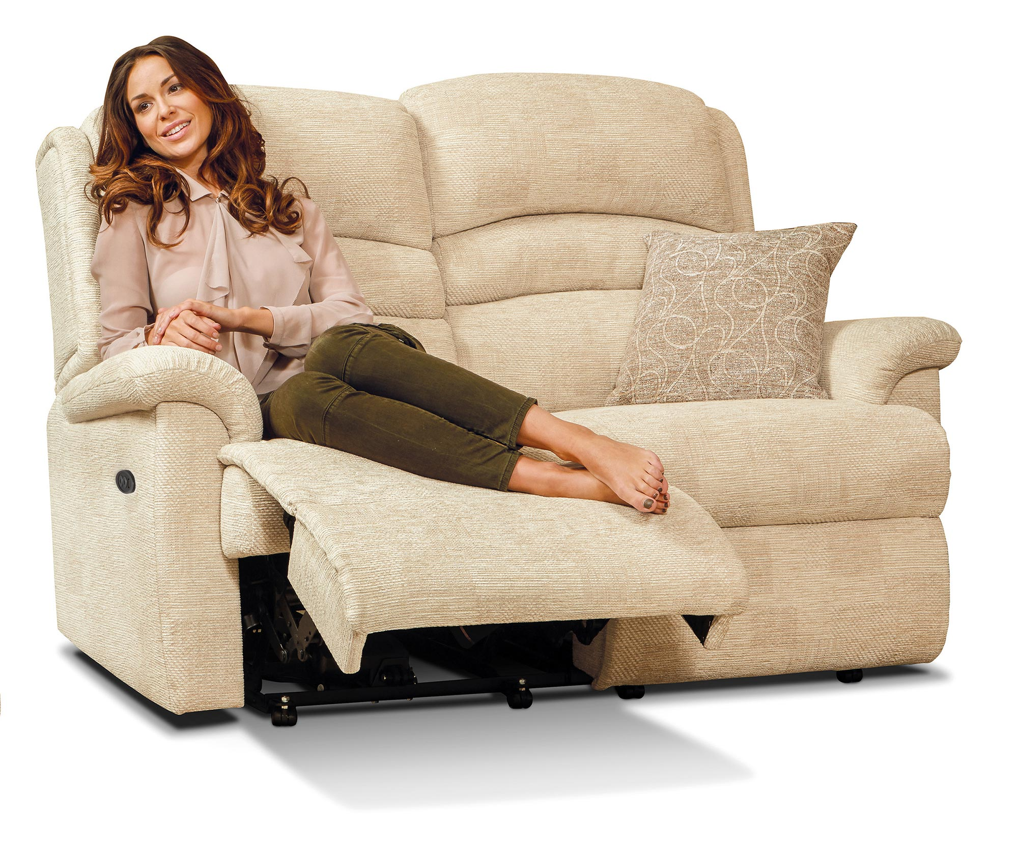 Olivia Standard Fabric Reclining 2 Seater Settee