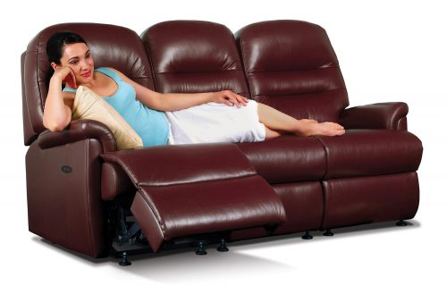 Keswick Small Leather Reclining 3-Seater Settee