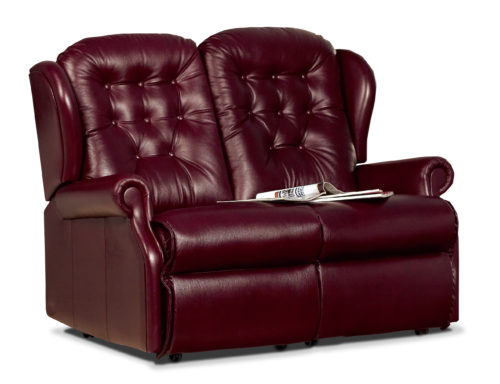 Lynton Small Leather Fixed 2-Seater Settee