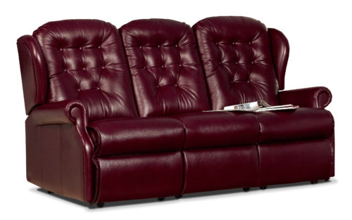 Lynton Small Leather Fixed 3-Seater Settee