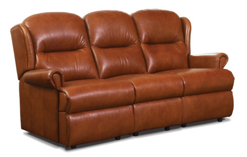 Malvern Small Leather Fixed 3-Seater Settee