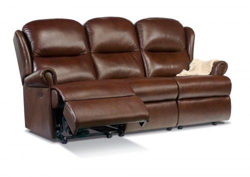 Malvern Standard Leather Reclining 3-Seater Settee