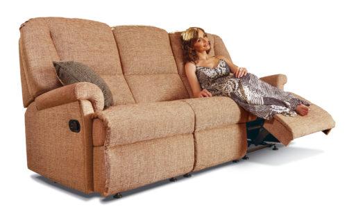 Milburn Standard Fabric Reclining 3-Seater Settee